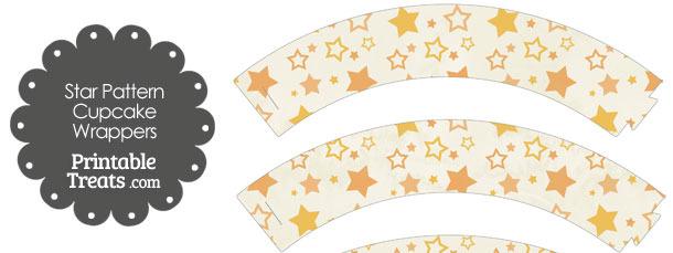 Vintage Orange Star Pattern Cupcake Wrappers