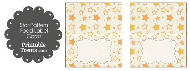 Vintage Orange Star Pattern Food Labels