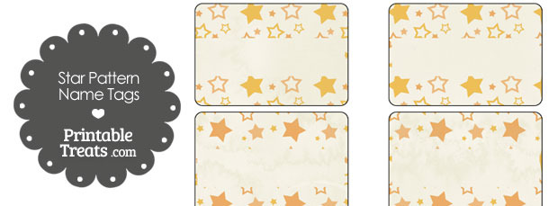 Vintage Orange Star Pattern Name Tags