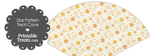 Vintage Orange Star Pattern Treat Cone