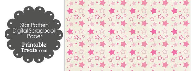 Vintage Pink Star Pattern Digital Scrapbook Paper