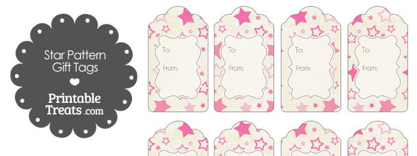 Vintage Pink Star Pattern Gift Tags
