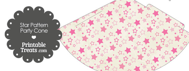 Vintage Pink Star Pattern Party Cone