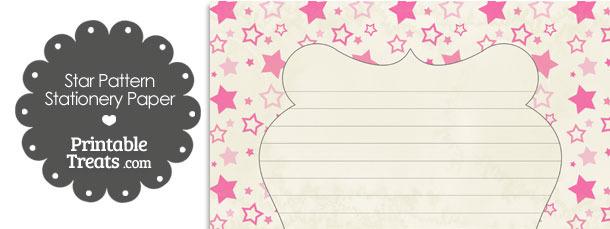 Vintage Pink Star Pattern Stationery Paper