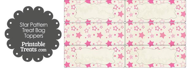 Vintage Pink Star Pattern Treat Bag Toppers