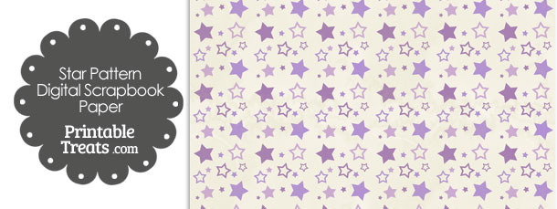 Vintage Purple Star Pattern Digital Scrapbook Paper