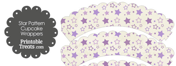 Vintage Purple Star Pattern Scalloped Cupcake Wrappers