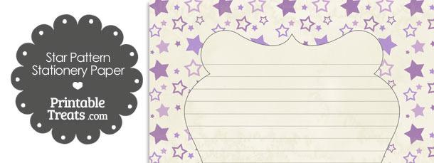 Vintage Purple Star Pattern Stationery Paper