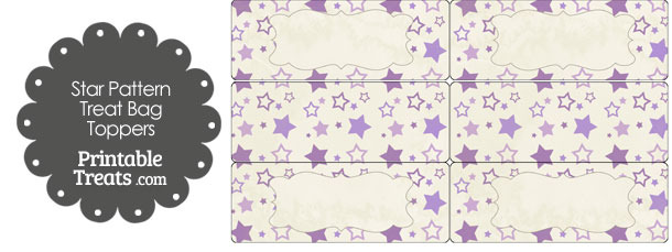 Vintage Purple Star Pattern Treat Bag Toppers