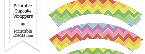 Vintage Rainbow Chevron Cupcake Wrappers