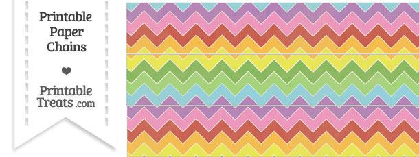 Vintage Rainbow Chevron Paper Chains
