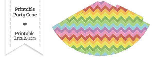 Vintage Rainbow Chevron Party Cone