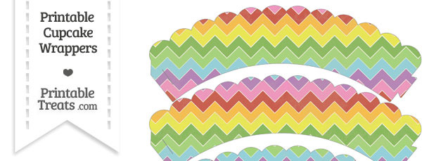 Vintage Rainbow Chevron Scalloped Cupcake Wrappers