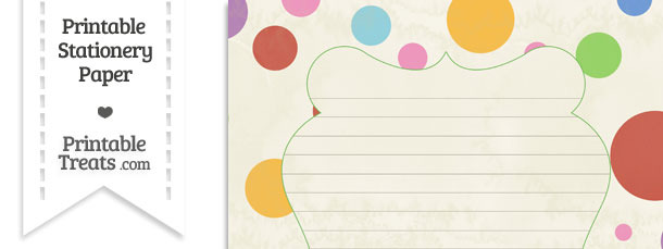 Vintage Rainbow Dots Stationery Paper