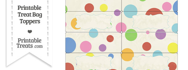 Vintage Rainbow Dots Treat Bag Toppers