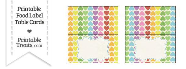 Vintage Rainbow Hearts Food Labels