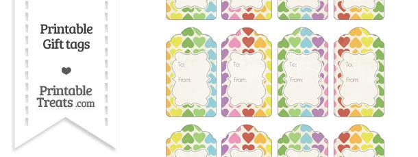 Vintage Rainbow Hearts Gift Tags
