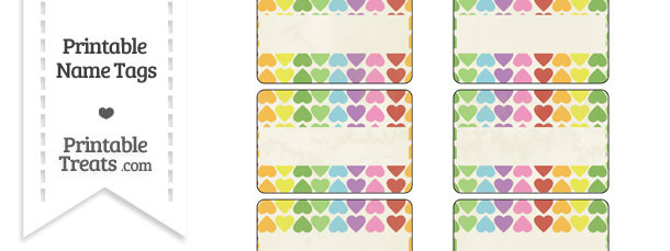 Vintage Rainbow Hearts Name Tags