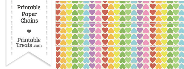 Vintage Rainbow Hearts Paper Chains