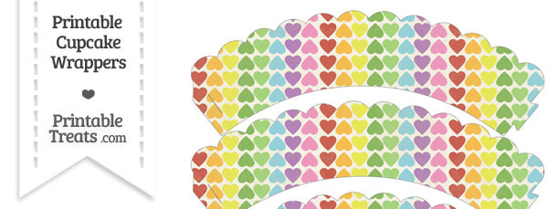 Vintage Rainbow Hearts Scalloped Cupcake Wrappers