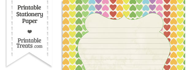 Vintage Rainbow Hearts Stationery Paper