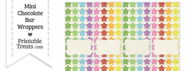 Vintage Rainbow Stars Mini Chocolate Bar Wrappers