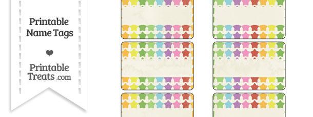 Vintage Rainbow Stars Name Tags