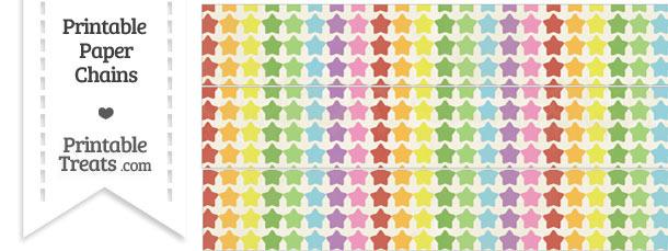 Vintage Rainbow Stars Paper Chains