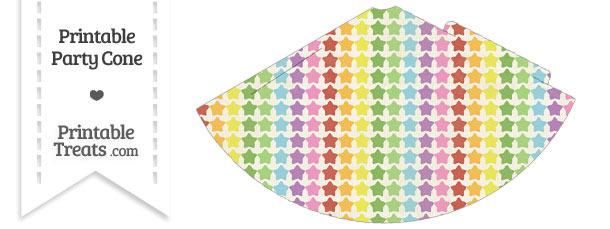 Vintage Rainbow Stars Party Cone
