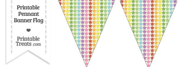 Vintage Rainbow Stars Pennant Banner Flag
