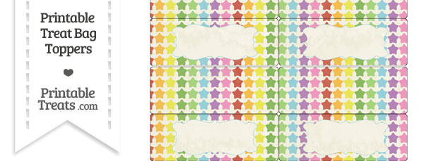 Vintage Rainbow Stars Treat Bag Toppers
