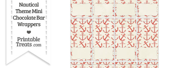 Vintage Red Anchors Mini Chocolate Bar Wrappers