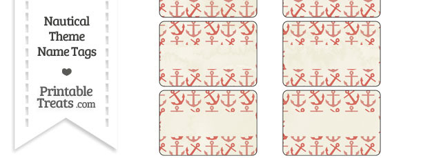 Vintage Red Anchors Name Tags