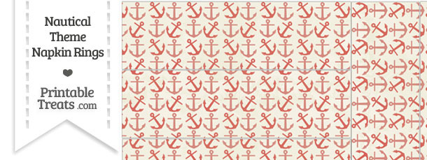Vintage Red Anchors Napkin Rings