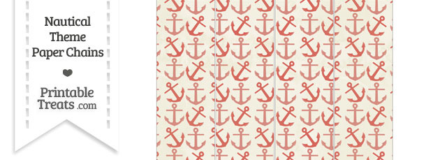 Vintage Red Anchors Paper Chains