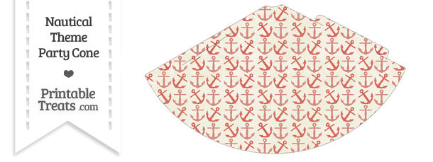 Vintage Red Anchors Party Cone