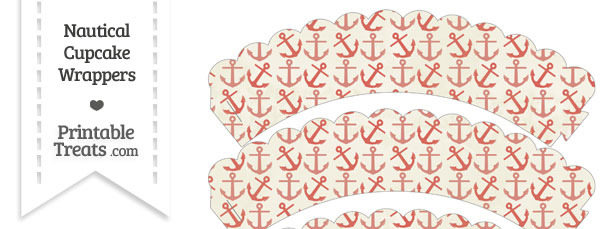 Vintage Red Anchors Scalloped Cupcake Wrappers