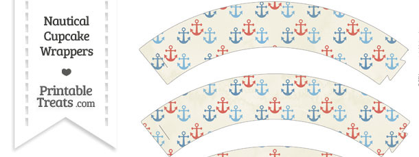Vintage Red and Blue Anchors Cupcake Wrappers
