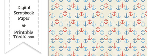 Vintage Red and Blue Anchors Digital Scrapbook Paper