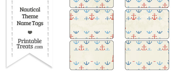 Vintage Red and Blue Anchors Name Tags