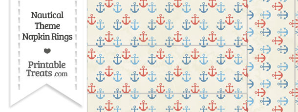 Vintage Red and Blue Anchors Napkin Rings