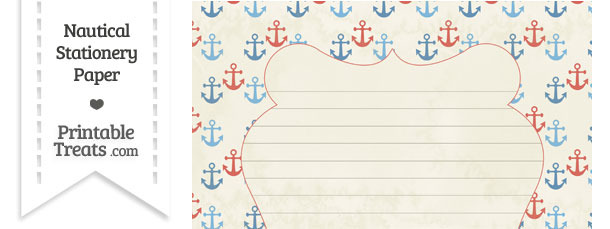 Vintage Red and Blue Anchors Stationery Paper