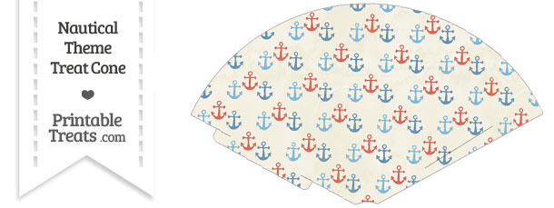 Vintage Red and Blue Anchors Treat Cone
