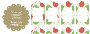 Vintage Red and Green Christmas Ornaments Gift Tags