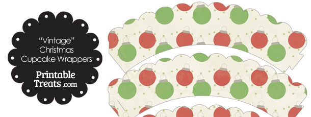 Vintage Red and Green Christmas Ornaments Scalloped Cupcake Wrappers