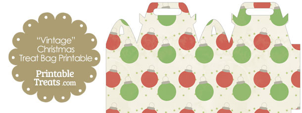 Vintage Red and Green Christmas Ornaments Treat Bag