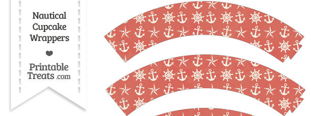 Vintage Red Nautical Cupcake Wrappers