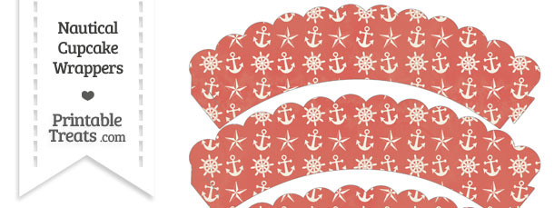 Vintage Red Nautical Scalloped Cupcake Wrappers