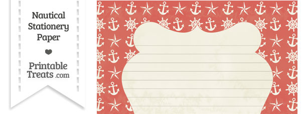 Vintage Red Nautical Stationery Paper