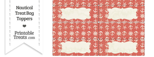 Vintage Red Nautical Treat Bag Toppers